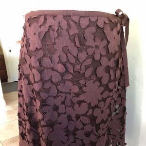 Max Studio Chocolate Applique Skirt